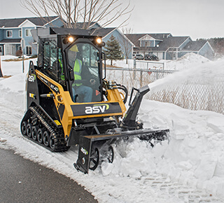 Compact track loader for snow removal
